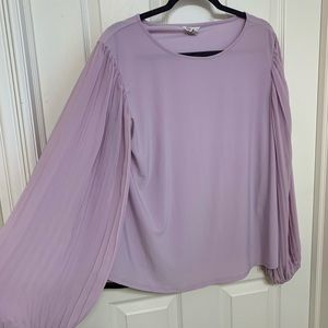 Lilac purple Cato blouse pleated long sleeves